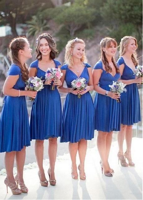 Wonderful Spandex V-neck Neckline A-line Bridesmaid Dresses
