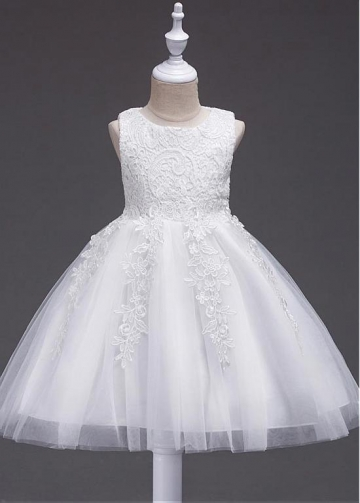 Lovely Satin & Tulle Jewel Neckline A-line Flower Girl Dress With Lace Appliques