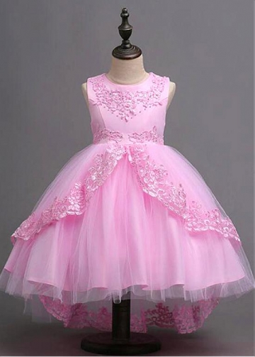 Alluring Tulle & Satin Jewel Neckline Ball Gown Flower Girl Dress With Beaded Lace Appliques & Bowknot