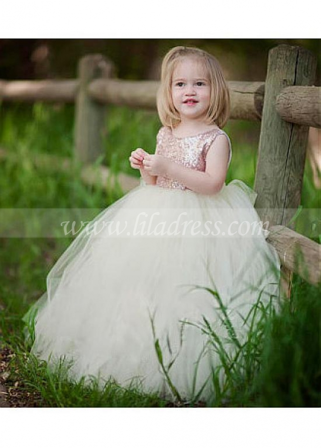 Lovely Sequin Lace & Tulle Scoop Neckline Ball Gown Flower Girl Dress