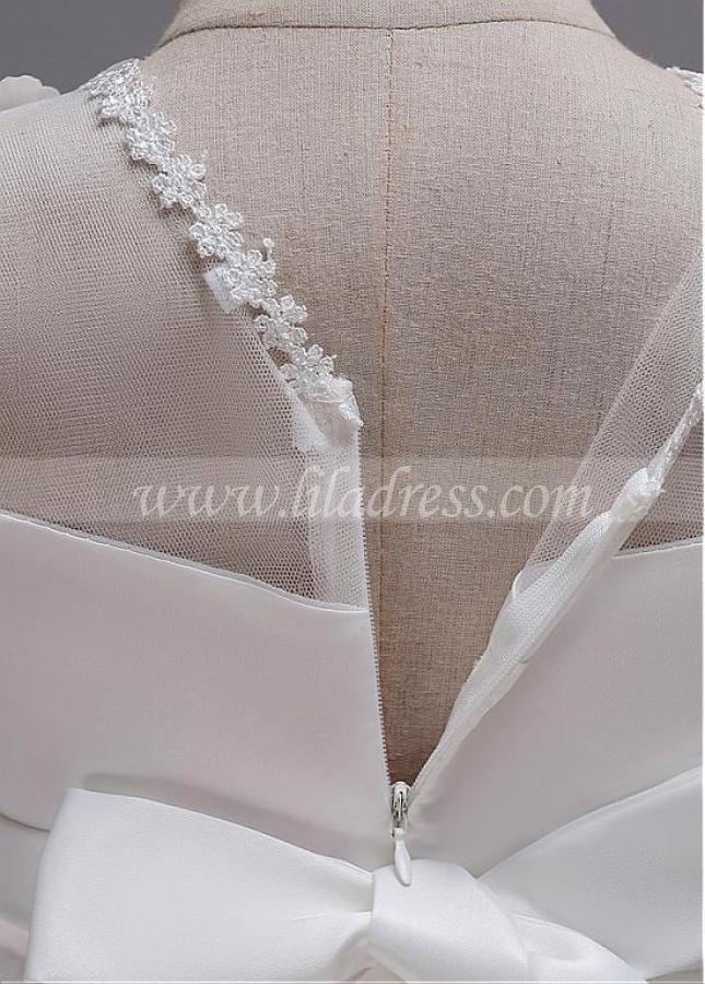 Marvelous Tulle & Satin Jewel Neckline Ball Gown Flower Girl Dress With 3D Flowers & Beadings