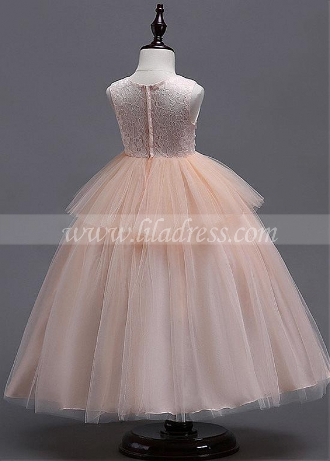 Sweet Tulle & Lace Jewel Neckline Floor-length Ball Gown Flower Girl Dress With Lace Appliques & Beadings
