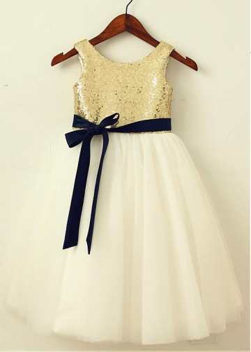 Attractive Sequin Lace & Tulle Scoop Neckline Tea-length A-line Flower Girl Dresses With Belt