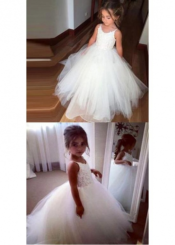 Sweet Tulle Spaghetti Straps Neckline Floor-length Ball Gown Flower Girl Dresses With Lace Appliques