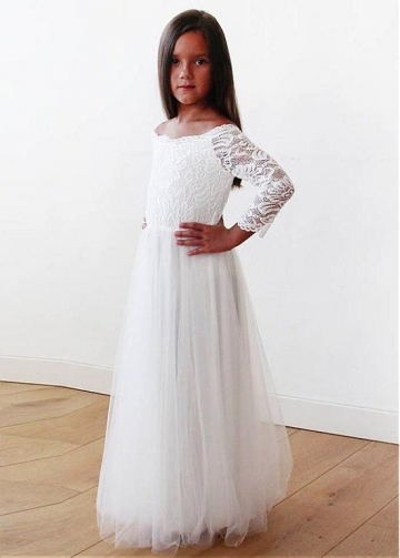 Elegant Tulle & Lace Off-the-shoulder Neckline Full-length A-line Flower Girl Dresses