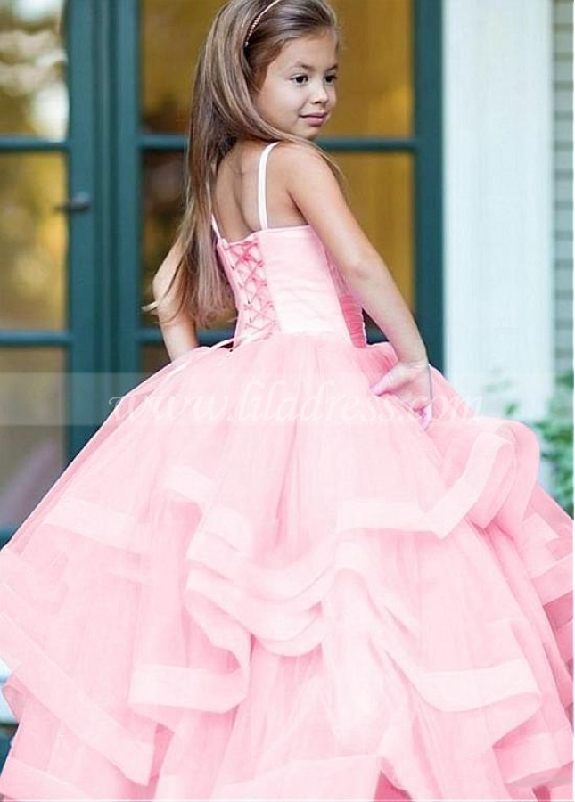 Chic Tulle Spaghetti Straps Neckline Ball Gown Flower Girl Dresses With Beaded Lace Appliques