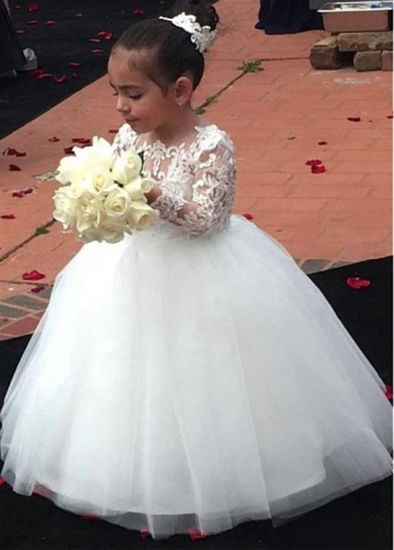 Attractive Tulle & Satin Jewel Neckline Ball Gown Flower Girl Dresses With Lace Appliques