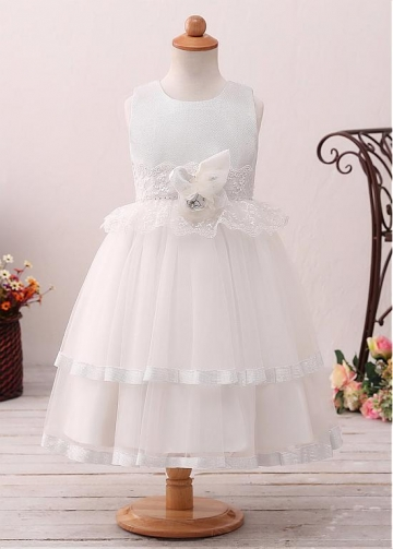 Luxury Tulle Jewel Neckline Ball Gown Flower Girl Dress With Lace Appliques & Handmade Flowers & Belt