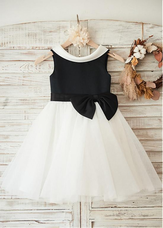 Wonderful Satin & Tulle Scoop Neckline Knee-length A-line Flower Girl Dresses With Bowknot