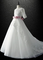 Chic Tulle Scoop Neckline A-line Flower Girl Dress With Lace Appliques & Bowknot