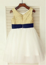 Famous Sequin Lace & Tulle Scoop Neckline Ball gown Flower Girl Dresses With Handmade Flowers