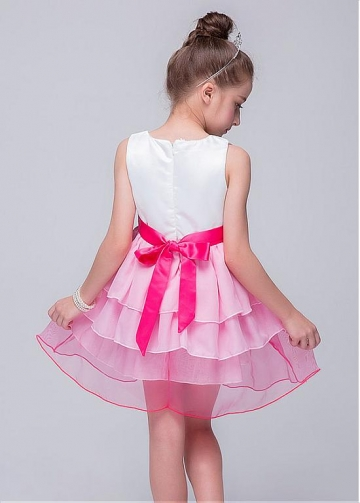 Attractive Chiffon & Organza Jewel Neckline A-Line Flower Girl Dresses With Handmade Flowers