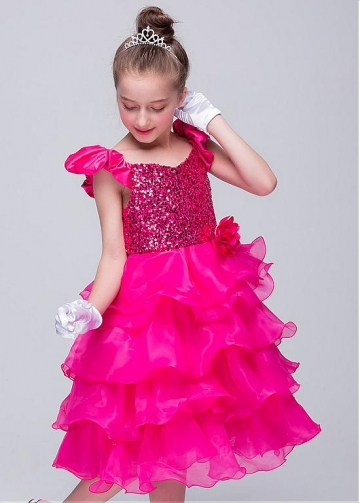 Fantastic Sequin Lace & Organza Scoop Neckline Ball Gown Flower Girl Dresses With Handmade Flowers