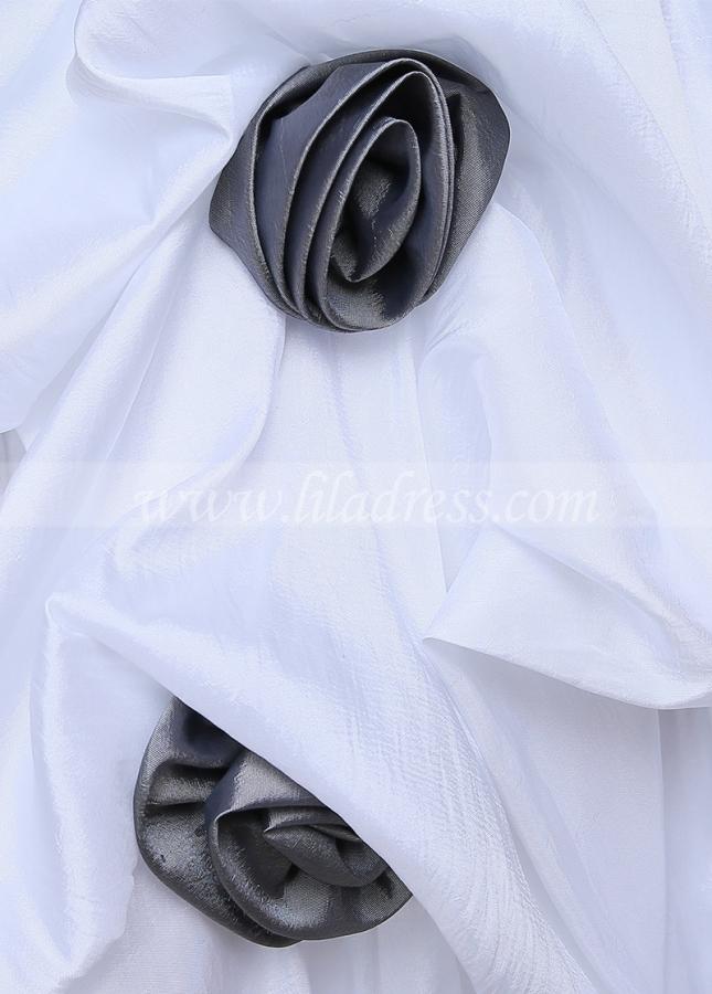 Popular Taffeta Scoop Neckline Ball Gown Flower Girl Dresses With Handmade Flowers