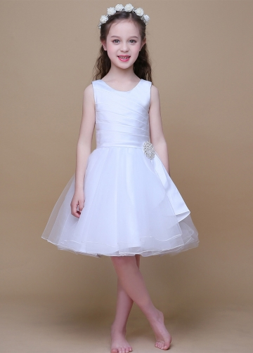Amazing Satin & Tulle Scoop Neckline A-Line Flower Girl Dresses With Rhinestones