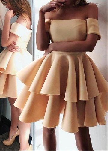 Modest Satin Off-the-shoulder Neckline Short A-line Homecoming Dresses