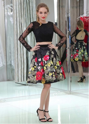 Delicate Lace Illusion Long Sleeves A-line Two-piece Homecoming Dresses With Beadings