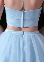 Graceful Tulle & Satin Halter Neckline Short Length Two-piece A-line Homecoming Dress
