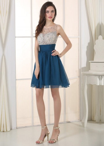Amazing Chiffon Jewel Neckline A-line Homecoming Dresses