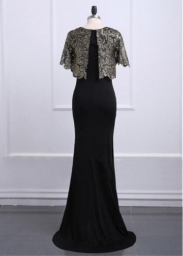 Fascinating Lace & Satin Jewel Neckline Full-length Sheath/Column Mother Of The Bride Dresses