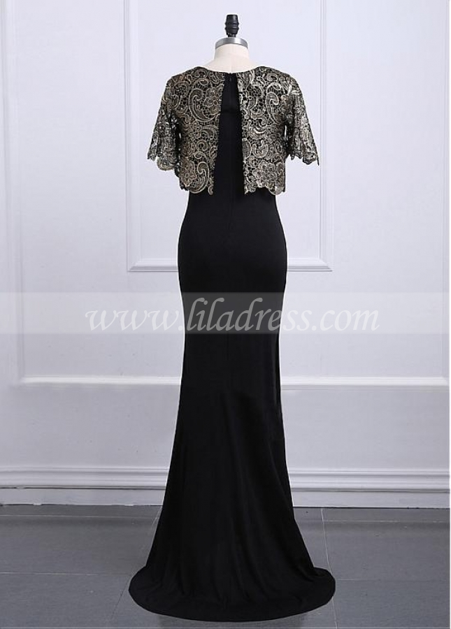 Fascinating Lace & Satin Jewel Neckline Full-length Sheath/Column Mother Of The Bride Dresses