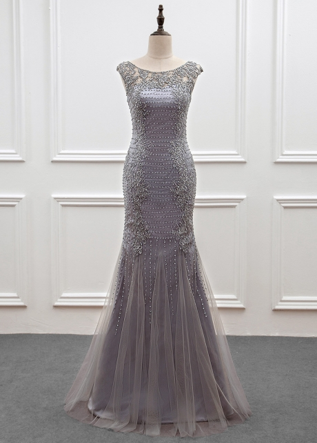 Modest Tulle Scoop Neckline Mermaid Mother Of The Bride Dress With Beadings & Lace Appliques