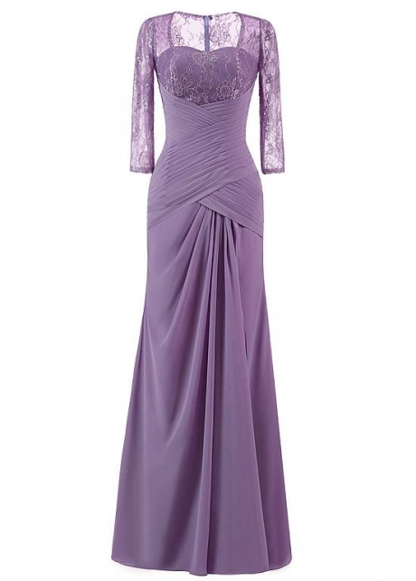 Marvelous Lace & Chiffon Sweetheart Neckline 3/4 Length Sleeves Sheath/Column Mother Of The Bride Dress