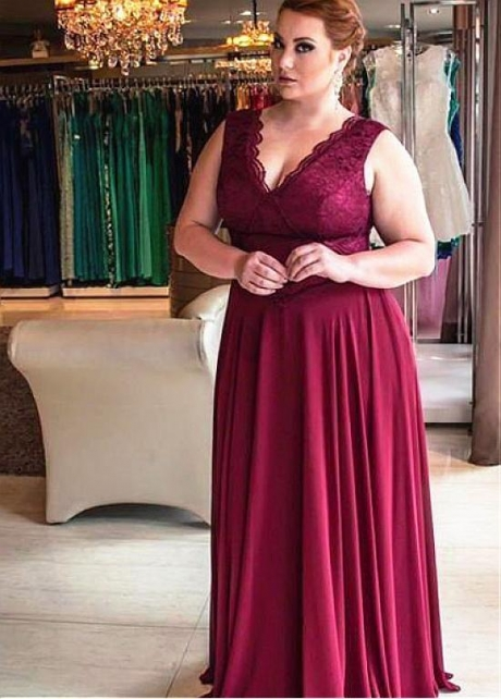 Alluring Lace & Chiffon V-neck Neckline Floor-length A-line Mother Of The Bride Dresses