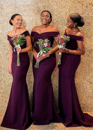 Modest Satin Off-the-shoulder Neckline Mermaid Purple Bridesmaid Dresses
