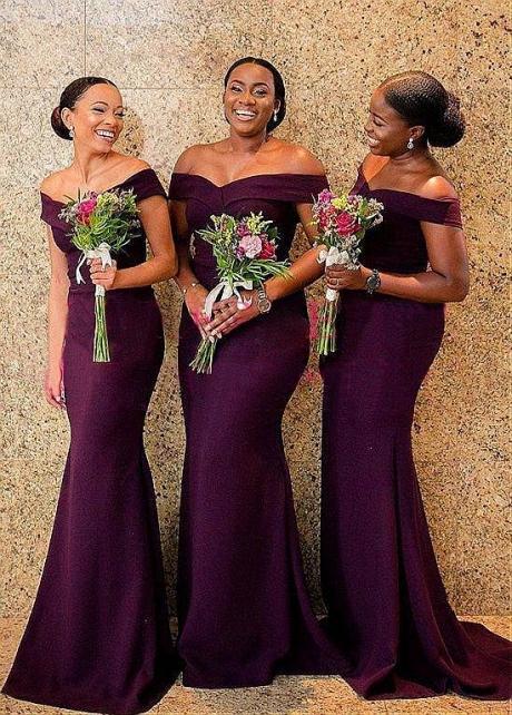 Modest Satin Off-the-shoulder Neckline Mermaid Purple Bridesmaid Dresses