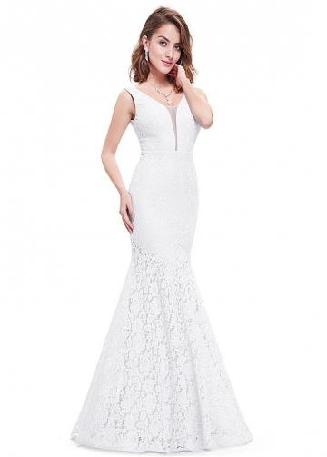 Alluring Lace V-neck Neckline Floor-length Mermaid Prom Dress