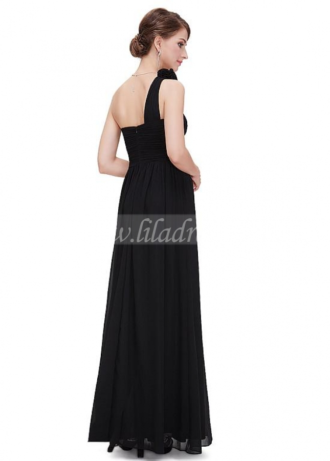 Modern Chiffon One Shoulder Neckline Full Length A-line Prom / Bridesmaid Dresses With Pleats