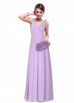 Dark Navy Modest Chiffon V-neck Neckline Full Length A-line Prom / Bridesmaid Dresses With Pleats