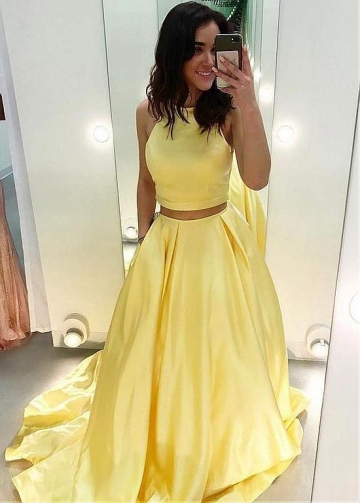 Wonderful Satin Jewel Neckline Two-piece A-line Prom Dresses