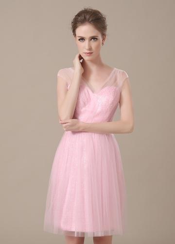 Chic Tulle V-neck Neckline Short A-line Bridesmaid Dresses