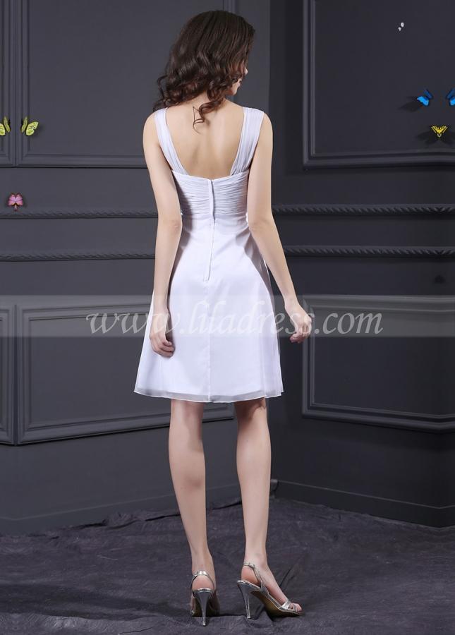 White Chiffon Sweetheart Neckline Knee-length A-line Bridesmaid Dress