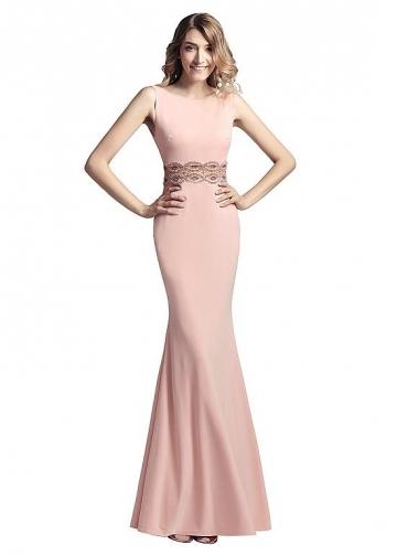 Graceful Linen Bateau Neckline Floor-length Sheath/Column Prom Dresses With Beadings