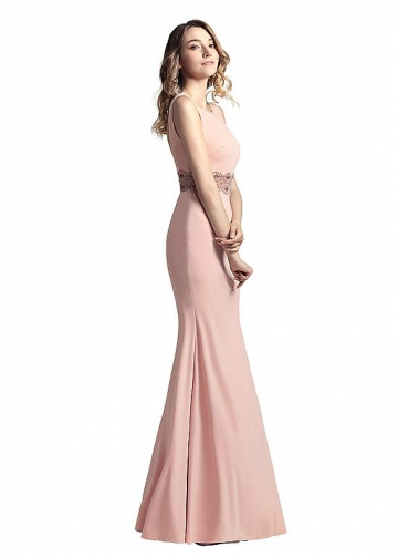 Graceful Linen Bateau Neckline Floor-length Sheath/Column Prom Dresses With Beadings