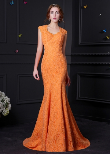 Charming Lace & Satin Scoop Neckline Mermaid Prom Dresses