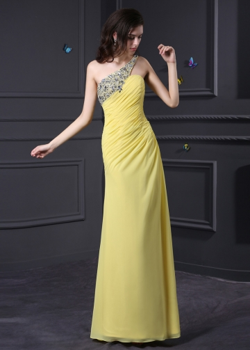Unique Chiffon One Shoulder Neckline Sheath Prom Dresses