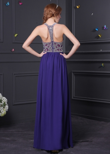 Charming Chiffon & Tulle Halter Neckline A-Line Prom Dresses