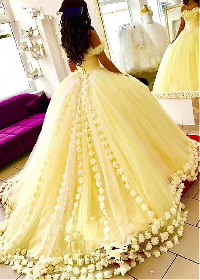 Eyecatching Tulle & Satin Off-the-shoulder Neckline Ball Gown Quinceanera Dress With 3D Flowers