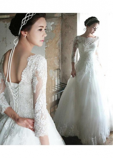 Delicate Tulle Bateau Neckline A-line Wedding Dress With Beadings & Lace Appliques