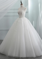 Exquisite Tulle Jewel Neckline See-through Bodice A-line Wedding Dress With Beadings & Lace Appliques