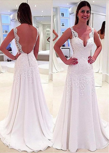 Wonderful Tulle & Chiffon V-neck Neckline A-line Wedding Dress With Lace Appliques & Beadings