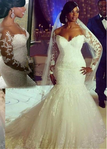 Stunning Tulle Off-the-shoulder Neckline Mermaid Wedding Dresses With Beaded Lace Appliques