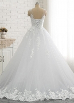 Glamorous Jewel Neckline A-line Wedding Dresses With Lace Appliques & Beadings