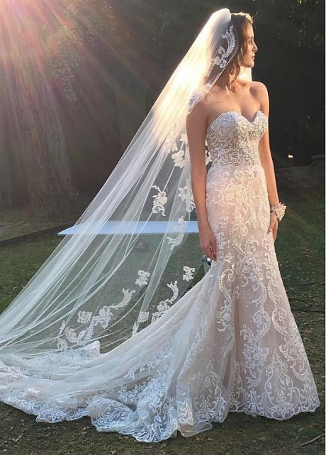 Eye-catching Tulle Sweetheart Neckline Mermaid Wedding Dresses With Beaded Lace Appliques