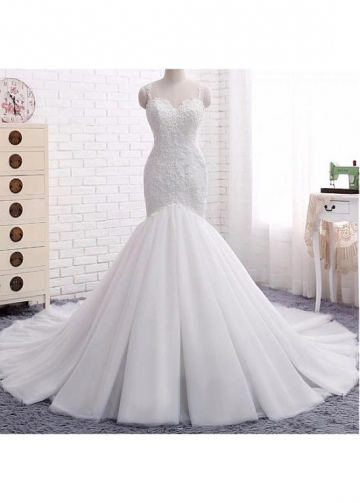 Attractive Tulle Spaghetti Straps Neckline Backless Mermaid Wedding Dresses With Beaded Lace Appliques