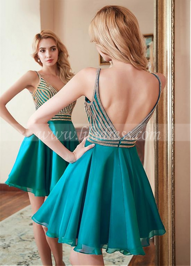 Charming Chiffon Spaghetti Straps Neckline Short A-line Homecoming Dress With Bead Chains